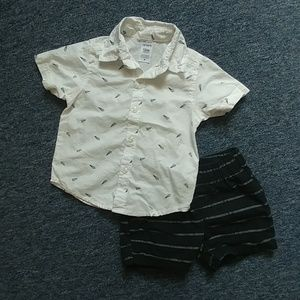 Carter's 12m black white airplane outfit